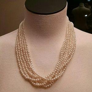Multi strand faux pearls